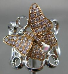 Estate Large .58ct White And Pink Diamond 18kt White And Rose Gold 3d Butterfly Ring