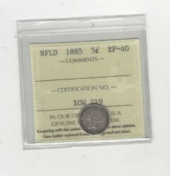 1885 Iccs Graded Newfoundland Andcent5 Five Cent Ef-40