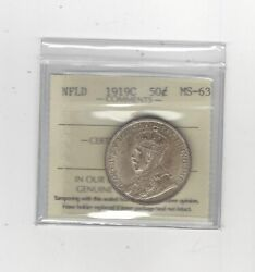 1919c Iccs Graded Newfoundland Andcent50 Fifty Cent Ms-63
