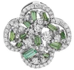 .95ct Diamond And Aaa Emerald 14k White Gold 4 Leaf Clover Flower Floating Pendant