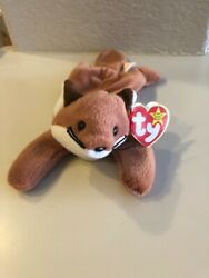 Rare Ty Beanie Baby Sly The Fox Style 4115 Pvc Pellets Date Of Birth 9/12/1996