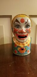 Vintage 1950's J Chein Tin Litho Clown Bank 5 Tall Working Condition