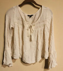 Americsn Eagle White Bell Sleeve Peasant Style Blouse Size Small
