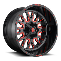 4 24x14 Fuel Gloss Black And Red Stroke Wheels 6x135 And 6x139.7 For Toyota Jeep