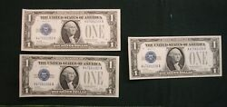Group Of Three 1928 A 1 Silver Certificates Funny Backs Cu - Consecutive