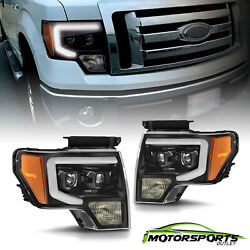 For 2009-2014 Ford F-150 Led Tube Bar Projector Polish Black Headlights Pairs