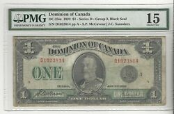 1923 Dominion Of Canada Dc-25m 1 Black Seal Gr 3, Sn D1023814 Pmg F-15