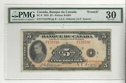 1935 Bank Of Canada Bc-6 5 Osb/tow Sn F155798 Pmg Vf-30