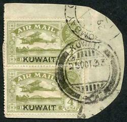 Kuwait 1933-34 Air 4a Olive-green Vertical Used Pair Tied On Piece By 1933 Pmk