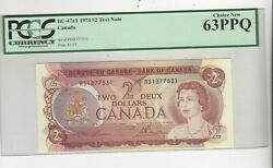 1974 Canada Bc-47at 2 Law/bou Sn Rs 1377531 Pcgs Ms-63 Ppq Test Note