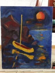Friedrich Gronstedt 1918-1999 Oil Painting Expressive Boat Sea Navy
