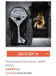 new Super Warm Hoodie With German Sheppard Print - Woman Size S - Black And Grey