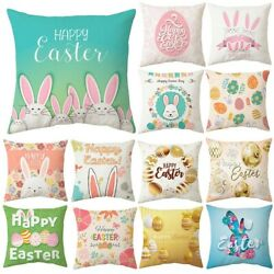 Spring Easter Bunny Egg Pillow Case Throw Cushion Cover Home Sofa Decoration Lot