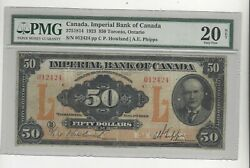 1923 Imperial Bank Of Canada 375-18-14 50 Note Pmg Vf-20 Sn 012424 See Desc