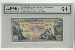 1935 Canadian Bank Of Commerce 20 Note Cat75-18-10 Sn007679 Pmg Ms-64