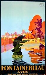 Rare Fontainebleau By Julien Lacaze 1930 Vintage French Travel Poster For Plm