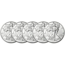 2020 American Silver Eagle 1 oz $1 BU Five 5 Coins
