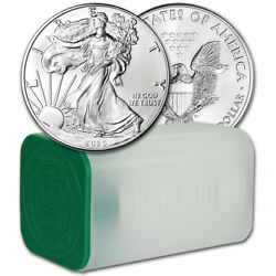 2020 American Silver Eagle 1 oz $1 1 Roll Twenty 20 BU Coins in Mint Tube