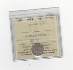 1912, Iccs Graded Canadian, 5 Cent, Ms-64