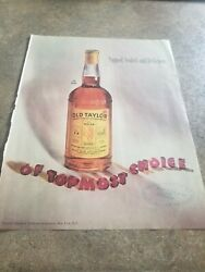 1948 Vintage Print Ad Old Taylor Kentucky Bourbon Whiskey. Signed Sealed Deli