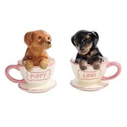Pacific Trading Dachshund Puppies Tea Cup Puppy Love Salt And Pepper Shakers Se