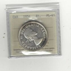 1954, Iccs Graded Canadian Silver Dollar Pl-65 Heavy Cameo