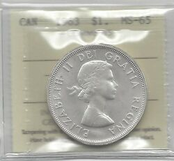 1963 Iccs Graded Canadian,silver Dollarms-65