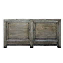 Chinese Distressed Pale Olive Green 4 Doors Sideboard Table Cabinet Cs5391