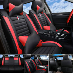 Pu Leather Car Seat Covers Front And Rear Full Set For 5-seats Cars Universal Fit