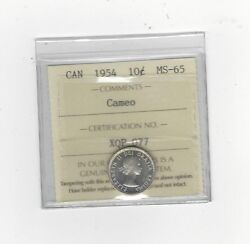 1954 Iccs Graded Canadian 10 Cent Ms-65 Cameo