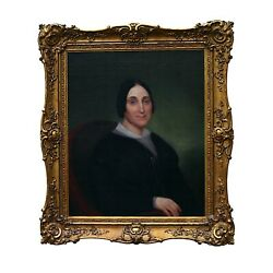 Antique Woman Oil Painting Early 19th Century Americana Portrait
