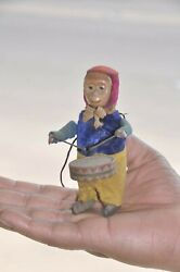 Vintage Wind Up Textured Cloth 'schuco' Monkey Playing Drum Tin Toy, Germany