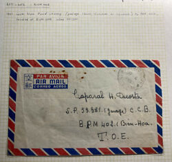 1951 Pondicherry French India Airmail Cover To Army Po Bien Hoa Vietnam