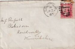 Gb 1867 London W To Kenilworth Cover 1d Red Plate 71 London Cancel Vgc