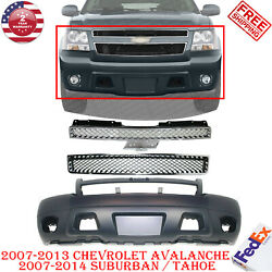 Front Bumper Cover + Grilles For 2007-2013 Avalanche / 2007-2014 Suburban Tahoe