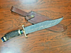 Custom Damascus Bowie Hunting Knife - Brass Guard - Stag Antler Handle