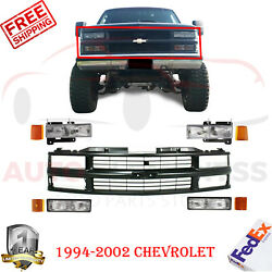 Front Grille Black + Headlights And Side Markers For 1994-2000 Chevy C/k Pickup