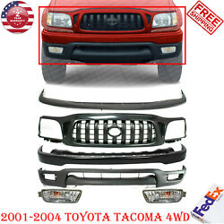 Front Bumper Primed Steel Kit + Grille + Fogs For 2001-2004 Toyota Tacoma 4wd