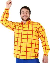 Adult Cartoon Movie Toy Story Woody Cowboy Striped Long Sleeve Costume Shirt