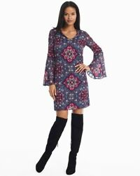 WHBM New Long Bell Sleeve Medallion Printed Shift Dress Style 570214236 Size XS