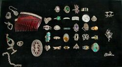 125 Pc Lot Of Sterling Silver Jewelry With Diamonds Semi- And Precious Stones