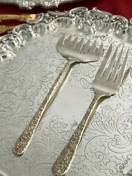 S Kirk And Son Sterling Silver Repousse 2 Serving Forks – Repousse Pattern