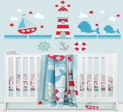 Ahoy Wall Decals Set Giant Nautical Nursery Stickers Lighthouse Sailboat Whales