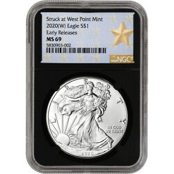 2020-w American Silver Eagle - Ngc Ms69 - Early Releases - Star Label - Black