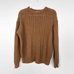 EverySunday  Camel Color Chunky Cable Knit Sweater Womens Size Large