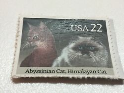 Stamp USA Abyssinian Cat Himalayan Cat .22 Cents Used 1136 09172018