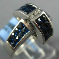 Wide 3.47ct Diamond Andaaa Sapphire 18k White Gold Princess And Round Plus Sign Ring