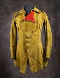Men's Native American Rare Unique Leather Jacket War Shirt Red Indian Brand New