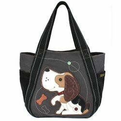 NWT CHALA BEAGLE DOG PUPPY BLUE STRIPE CARRYALL ZIPPER TOTE PURSE HANDBAG CANVAS $52.50