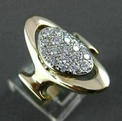 Antique Large .65ct Diamond 14kt White And Yellow Gold Oval Cocktail Ring 23053